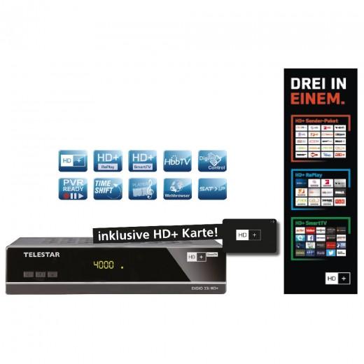 Telestar Digio 33i HD+ schwarz DVB-S2,FTA,CI,HD+ Smartcard 6 Mon.,PVR