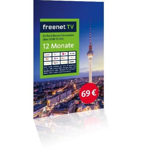 freenet TV-Voucher aktivierte 12 Monate Guthabenkarte