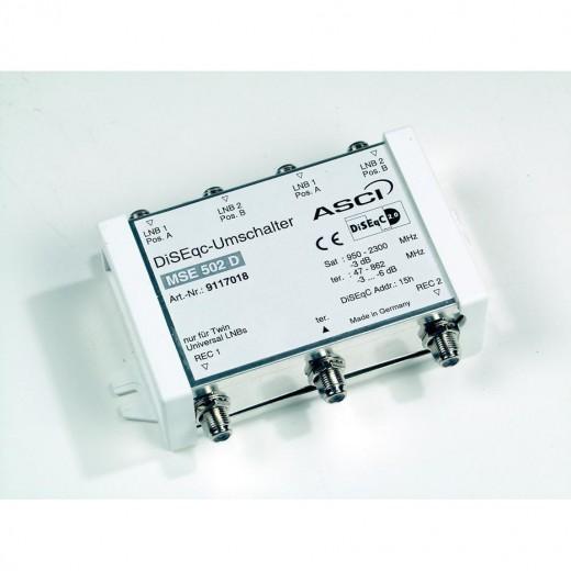 ASCI MSE 502 D DiSEqC-Umschalter mit 4 Eingängen für 2 Twin-Universal-LNBs