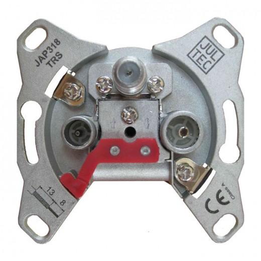 Jultec JAD318TRS 3-Loch Sat-Enddose | 18 dB Anschlussdämpfung | DC-Durchlass