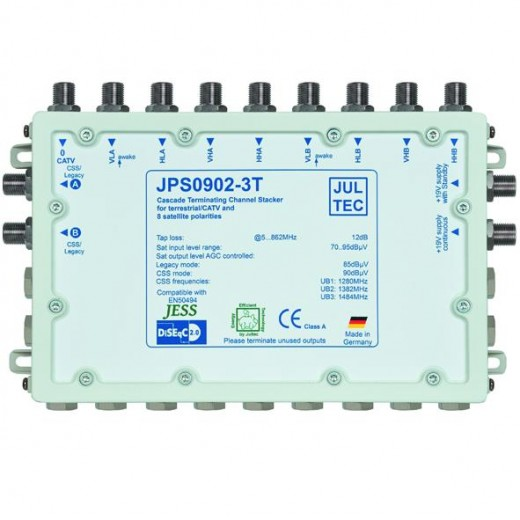 Jultec JPS0902-3T Einkabelumsetzer | 2 Satelliten | bis zu 6 Teilnehmer | Endkaskade