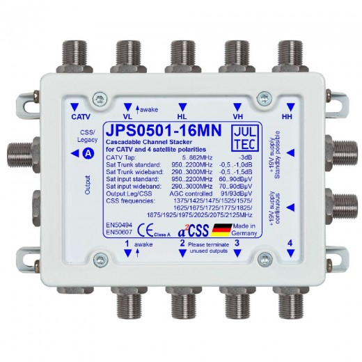 Jultec JPS0501-16MN Einkabelumsetzer a²CSS konfigurierbar | 1 Satellit | 16 Teilnehmer | kaskadierbar | Netzteil inklusive