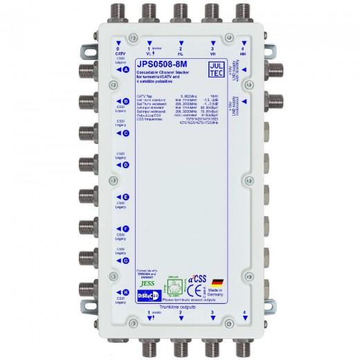 Jultec JPS0508-8M Einkabelumsetzer a²CSS konfigurierbar | 1 Satellit | bis zu 64 Teilnehmer | kaskadierbar