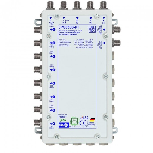 Jultec JPS0508-8T Einkabelumsetzer a²CSS konfigurierbar | 1 Satellit | bis zu 64 Teilnehmer | Endkaskade