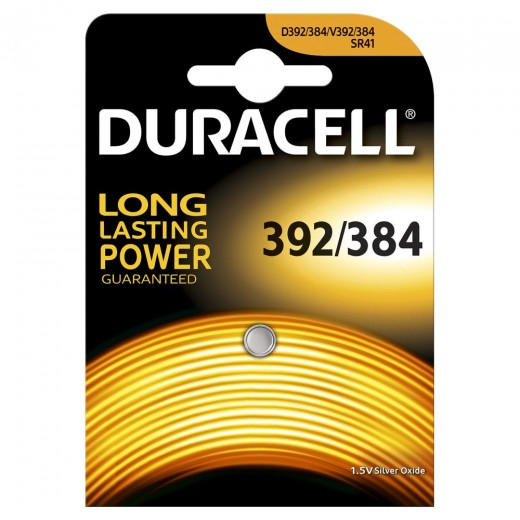 Duracell Silber Oxid 392/384 Uhrenbatterie | 1,5 Volt, SR41, 1er-Blister