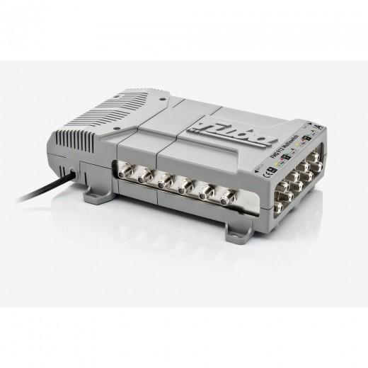 Fuba FMQ 912 Profi Sat-Multischalter 12 Teilnehmer | 9 in 12, 2 Satelliten, HDTV-, UHD(4K)-,3D-tauglich, aktive Terrestrik