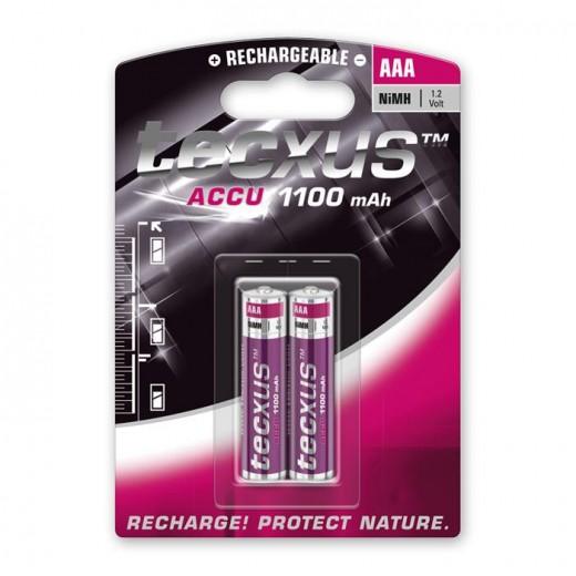Tecxus Micro AAA NiMH Akku 1,2 Volt 1100 mAh 2er Pack Blister