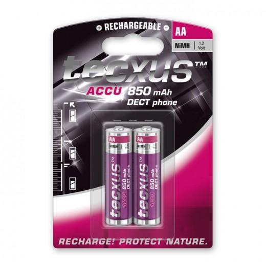 Tecxus Mignon AA NiMH DECT Akku 1,2 Volt 850 mAh 2er Pack Blister