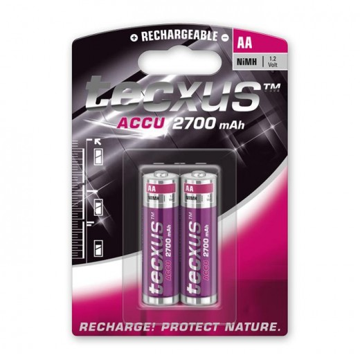 Tecxus Mignon AA NiMH Akku 1,2 Volt 2700 mAh 2er Pack Blister