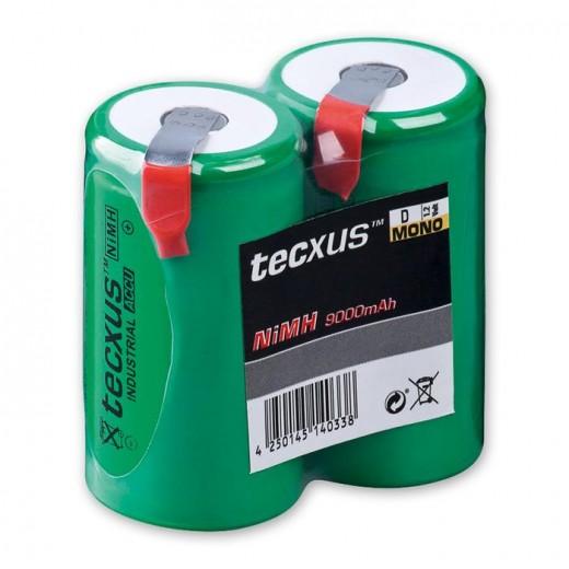 Tecxus Mono D NiMH Lötfahnen Akku 1,2 Volt 9000 mAh 2er Pack