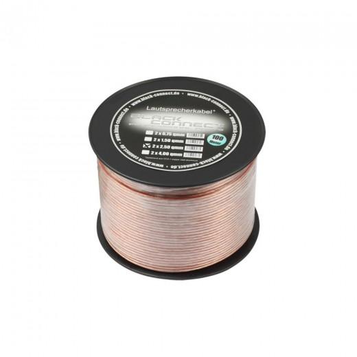 Black Connect Lautsprecherkabel CCA | 2x4,00 mm², transparent, 100m Spule