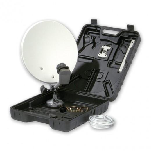 SAT-Campingkoffer mit einer 35-cm-Offset-Antenne inkl. Single-LNB und 10m F-Anschlusskabel