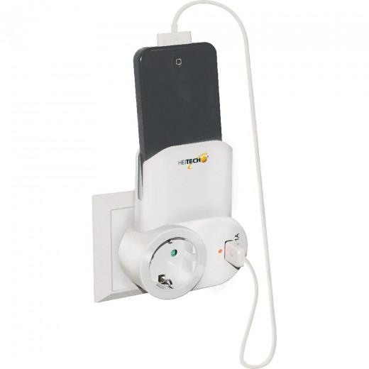Heitech Schuko-Netz-USB-Ladeadapter mit eingebauter Ladeschale, weiß