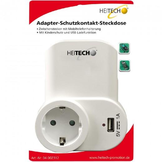 Heitech Schutzkontakt Zwischenstecker mit USB-Buchse und Ladeschale   weiß, Kinderschutz