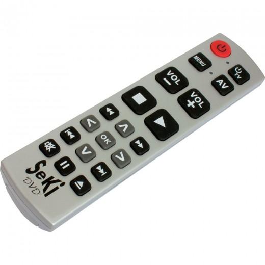 Seki DVD silber lernfähige Universal Infrarot Fernbedienung für DVD- und BluRay-Player
