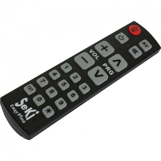 Seki Easy Plus schwarz lernfähige Universal Infrarot Fernbedienung | 18 Tasten, 2 Geräte, für TV-Geräte, DVB-C-, DVB-S- und DVB-T-Receiver
