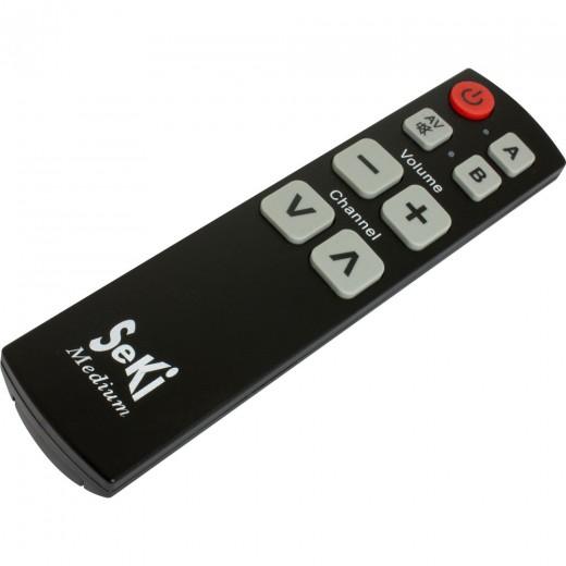 Seki Medium schwarz lernfähige Universal Infrarot Fernbedienung | 8 Tasten, 2 Ebenen, 2 Geräte, für TV-Geräte, Receiver, A/V-Geräte