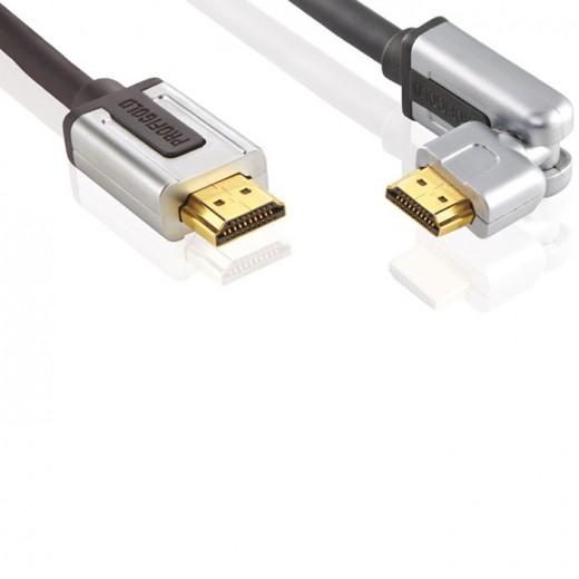 Profigold PROV 1802 (2,00 m) HDMI High Speed with Ethernet zertifiziertes Kabel schwenkbarer HDMI-A-Winkel-Stecker auf schwenkbarer HDMI-A-Winkel-Stecker in 2,00m Länge.