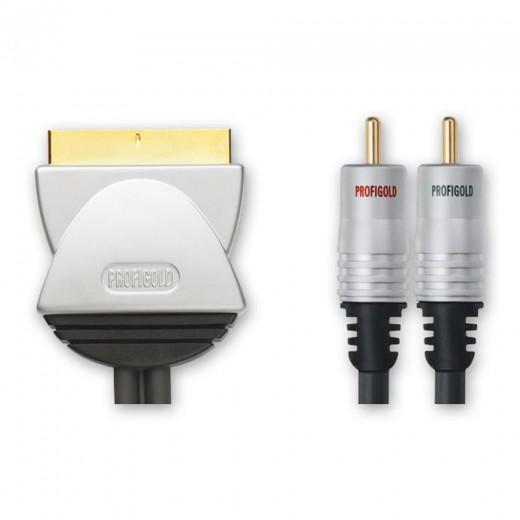 Profigold PGV 572 Videoanschlusskabel Scart-Stecker auf 2x Cinch-Stecker vergoldet 1,50 Meter