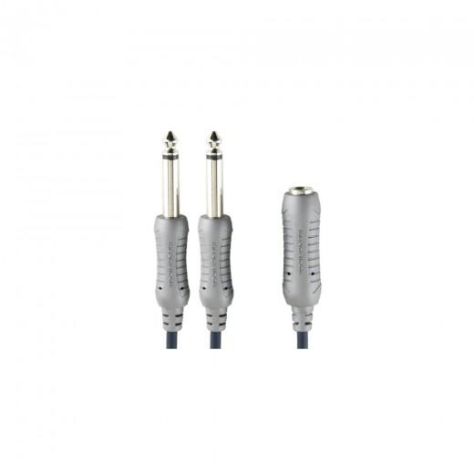 Bandridge AL365 (0,20 m) 6,3mm Klinken-Kupplung Mono auf 2x 6,3mm Klinken-Stecker