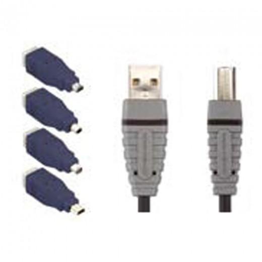BANDRIDGE BCK 400 (Set) 5 teiliges USB-Adapterset bestehend aus  1x USB-Kabel (USB-A auf USB-B) in 2,0 m Länge, Adapter: B-Mini 5 Pin, B-Mini B 8 Pin, B-Mitsumi 4 Pin und B-Hirose 4 Pin