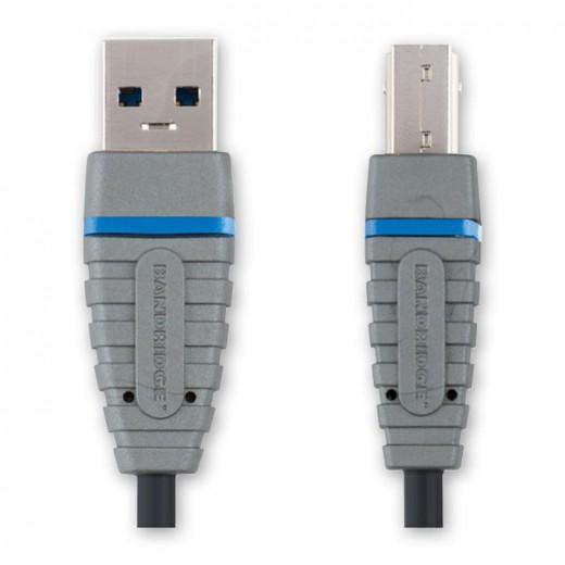 Bandridge BCL 5103 USB 3.0 SuperSpeed USB-Kabel 3,0 m vernickelte Kontakte USB A/B