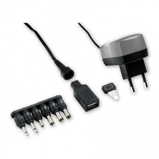 Bandridge BPC 4066 EC (1,80 m) Steckernetzteil mit 600 mA/3...12 Volt, USB-A-Buchse und 6 wechselbaren Netzteilsteckern