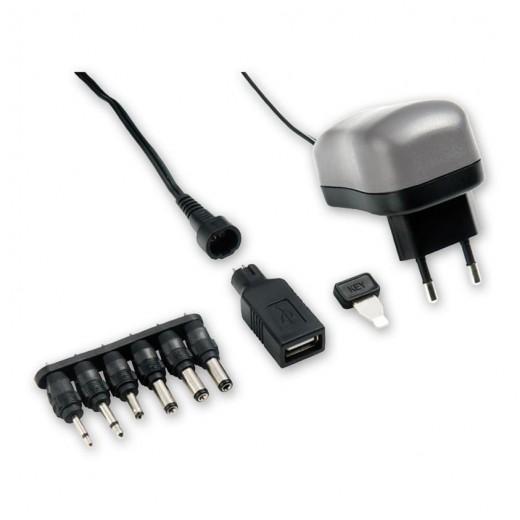 Bandridge BPC 4106 EC (1,80 m) Steckernetzteil mit 1000 mA/3...12 Volt, USB-A-Buchse und 6 wechselbaren Netzteilsteckern