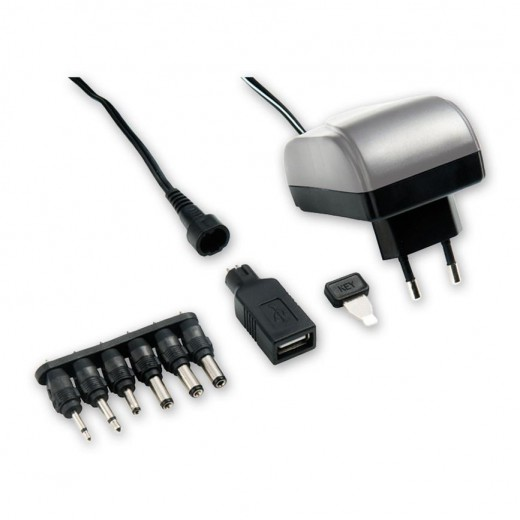 Bandridge BPC 4156 EC (1,80 m) Steckernetzteil mit 1500 mA/3...12 Volt, USB-A-Buchse und 6 wechselbaren Netzteilsteckern