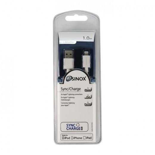 Sinox SXI 2501 Apple MFI lizenziertes USB-Ladekabel Lightning Stecker auf USB-A-Stecker 1,00m für iPhone 5, iPad 4 und iPad AIR