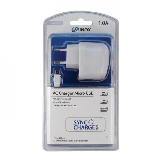 SinoxPlus SXI 712 I-Media Ladegerät mit USB-Anschluss 220V/5V 1,0 Ah weiß inkl. 1,50m Micro-USB-Kabel
