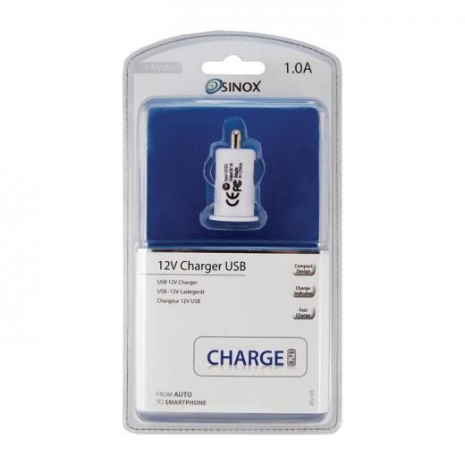 Sinox SXI 750 I-Media USB-Auto-Ladeadapter 1,0 Ah weiß für Smartphones