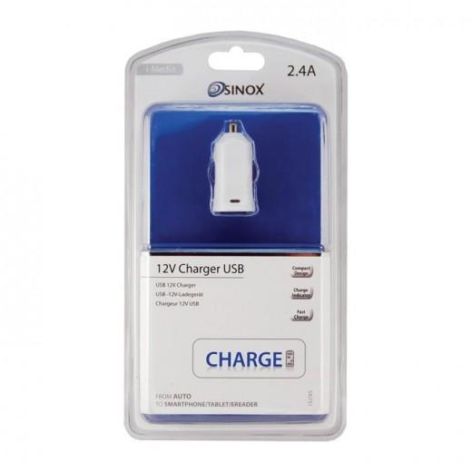 Sinox SXI 751 I-Media USB-Auto-Ladeadapter mit Schnellladefunkton 2,4 Ah weiß
