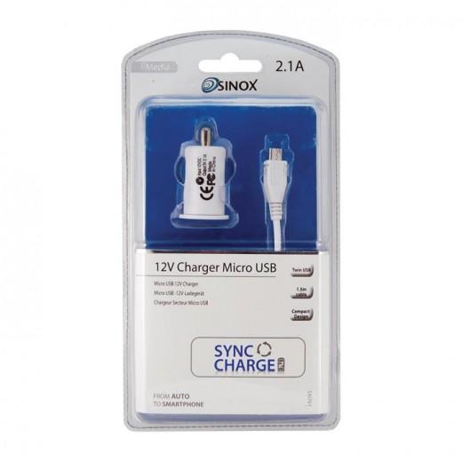 Sinox SXI 761 KFZ-Ladegerät mit zwei USB-Anschlüssen inkl. 1,50m Micro-USB-Anschlusskabel weiß 1,0/2,1 Ah