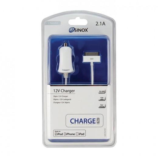 Sinox SXI 781 MFI Apple lizenziertes KFZ-Ladegerät inkl. 1,00m 30pin-Anschlusskabel 2,1 Ah weiß für iPhone 4S, iPad 1, iPad 2 und iPad 3