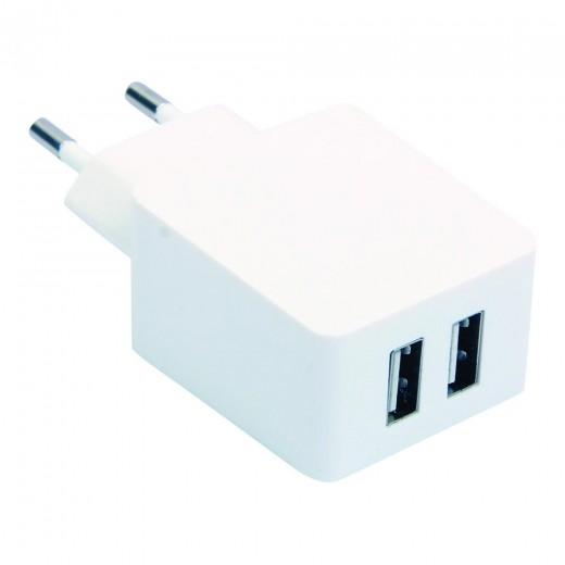 SinoxPlus SXI 704 I-Media USB Twin Ladegerät 220V/5V,1,0Ah+2,1Ah,weiß