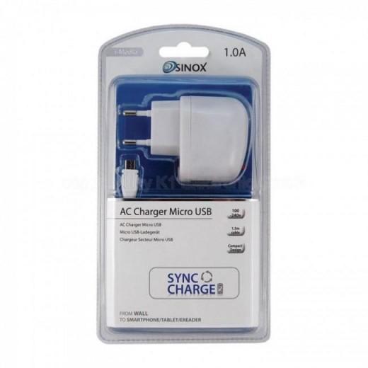 SinoxPlus SXI 713 I-Media USB-Ladegerät,1,0Ah,weiß,incl.micro USB-Kabel 1,5m