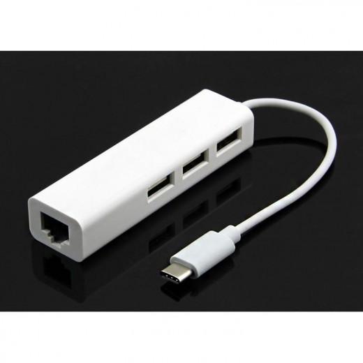 SinoxPlus SXI 46070 P I-Media USB-C St. - 3xUSB-A Ku.,2.0/1xRJ45 Ku.,0,15m,weiß
