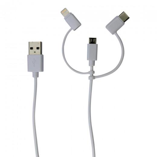 SinoxPlus SXI 49065 MFI I-Media USB-A St. - Micro USB+Lightning+USB-C St.,1,00m