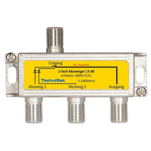 TechniSat 2-fach Sat-Abzweiger 0000/3131 15dB Abzweigedämpfung DC-Durchlass