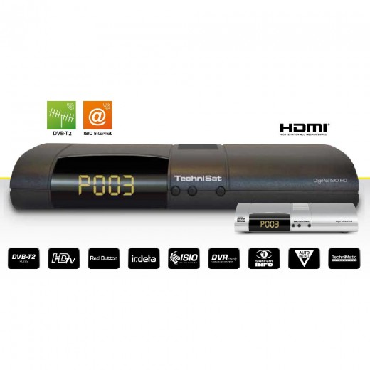TechniSat DigiPal ISIO HD anthrazit 0000/4931 | DVB-T2 Receiver f. FreenetTV mit Internet- und PVR-Funktionen