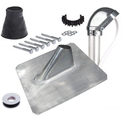 DUR-line Herkules Dachsparren-Montage-Set 48 BL | Bleiziegel + Alu-Mastkappe + Manschette + Schrauben + Isolierband