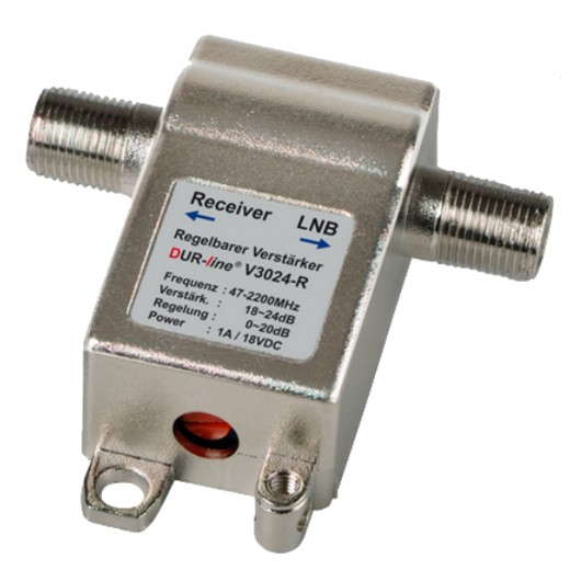 DUR-line V3024-R Inline-Verstärker mit 4-24 dB Verstärkung regelbar | SCR-tauglich