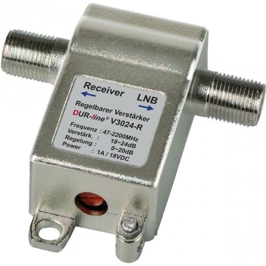 DUR-line V3024-R Inline-Verstärker 47 bis 2300MHz mit 4-24 dB Verstärkung regelbar | SCR-/Unicable-tauglich