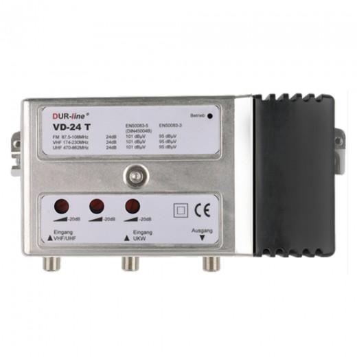 DUR-line VD-24 T UKW- und DVB-T/-T2 HD Verstärker | 4-24 dB, separat regelbar