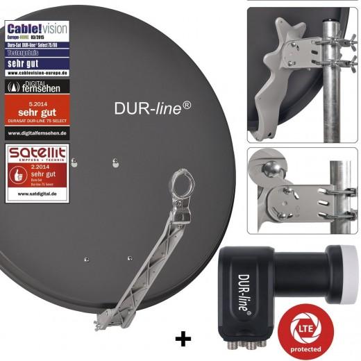 DUR-line 4-Teilnehmer Sat-Anlage | Set bestehend aus DUR-line Select 75/80 anthrazit + DUR-line +Ultra Quad LNB