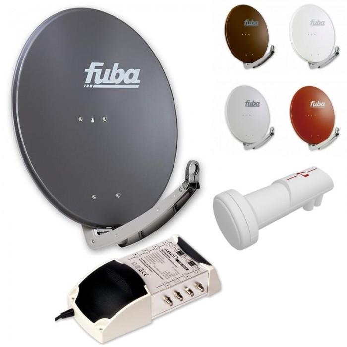 Digital SAT Anlage 8 Teilnehmer FUBA DAA780R Multischalter LNB Ziegel Rot HD 3D