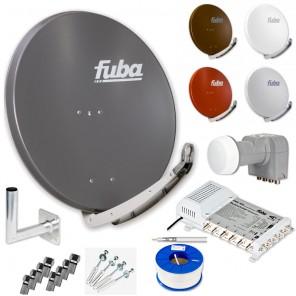 Fuba DAA 850 HD Sat Anlage 6 Teilnehmer | Fuba DAA 850 + LNB + Fuba FMS 506 5/6 Multischalter + Winkelwandhalter + Schrauben-Dübel-Set + 100m KKE 740 Brandschutz-Koaxialkabel inkl. F-Stecker