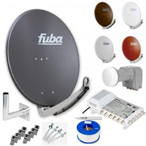 Fuba DAA 780 HD Sat Anlage 6 Teilnehmer | Fuba DAA 780 + LNB + Fuba FMS 506 5/6 Multischalter + Winkelwandhalter + Schrauben-Dübel-Set + 100m KKE 740 Brandschutz-Koaxialkabel inkl. F-Stecker