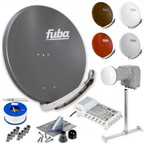 Fuba DAA 850 HD Sat Anlage 6 Teilnehmer | Fuba DAA 850 + LNB + 5/6 Multischalter + Dachsparrenhalter + Montageset + 100m KKE 740 Brandschutz-Koaxialkabel inkl. F-Stecker